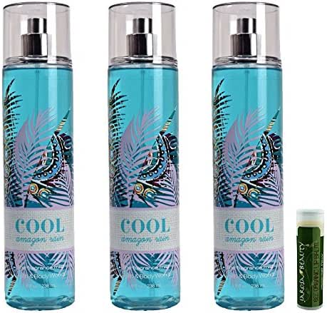 Bath & Body Works COOL AMAZON RAIN Mist 3 Pack with a Jarosa Bee Organic Peppermint Lip Balm by Jarosa Gifts