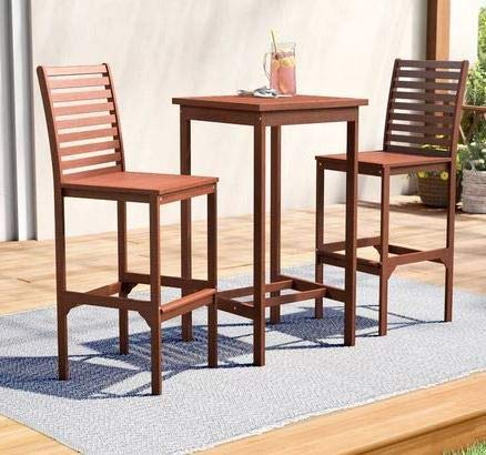 Sunroom Furniture- Out Door Patio Furniture- Cherry Eucalyptus Wood Ladder Back Chairs Three Piece Bar Height Set - Great for Summer Barbecues, Garden Parties, and Afternoons Spent Lounging