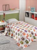 LaModaHome Luxury Soft Colored Bedroom Bedding 100% Cotton Single Bedspread (63'' x 86.6'') / Soft Relaxed Comfortable Pattern Owl Animal Colourful/Single Bed Size