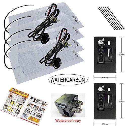WATERCARBON Carbon Fiber Seat Heater Kit Hi/Lo Setting, 2 Seats ... (seat Heater for Toyota)