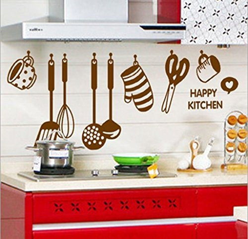 StickersKart Stylish Kitchen Art Brown Wall Stickers Decals Design