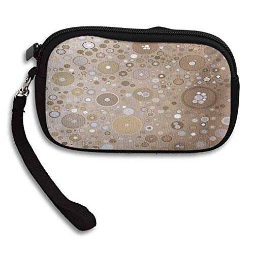 Tan Cool Wallets Soft Colored Circles and Dots in Different Sizes Bubble Shapes Artistry W 5.9