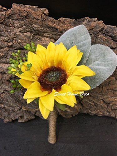 Sweet Home Deco Silk Sunflower Artificial Flower Bouquet/Flower Boutonniere Wedding Flowers (Yellow Boutonniere x 1)