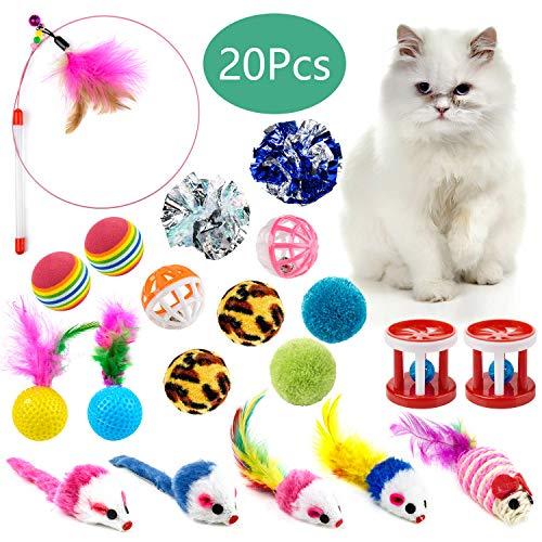 WolinTek Katzenspielzeug Set, 20 Stück Katzenspielzeug Katze Toys Variety Pack Spielzeug Set Federspielzeug Jingle Bell…