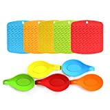 Umiwe Silicone Trivet Mat and Spoon Rest Multipurpose Kitchen Gadgets:Pot Holder, Hot Pads, Jar Opener, and Table Coaster - Heat Resistant & Dishwasher Safe - Bright Colors