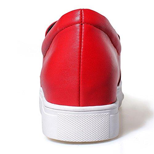 Minivog Kvinna Nit Platt Hopkopplade Dagdrivaren För Läder Skor Röd