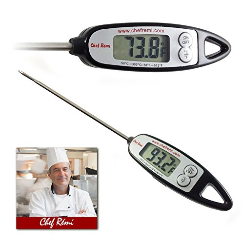 Chef Remi Digital Cooking Thermometer – Instant Read – Ensure Your Meat Is Cooked Accurately – Can Be Used In Oil, Making Candy - Ideal Fathers Day Gift