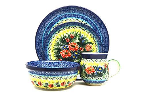 Polish Pottery 4-pc. Place Setting with Standard Bowl - Unikat Signature - U4610 (Place Pottery)