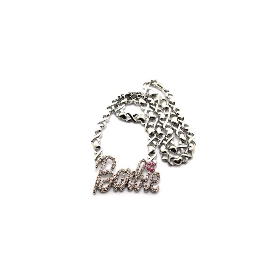 """New Iced Out Silver Nicki Minaj Barbie Pendant w/18"""" Hug & Kiss Chain Necklace XC251R Jewelry"""