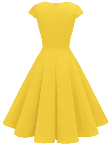 Women's 1950s Retro Vintage A-Line Cap Sleeve Cocktail Swing Party Dress