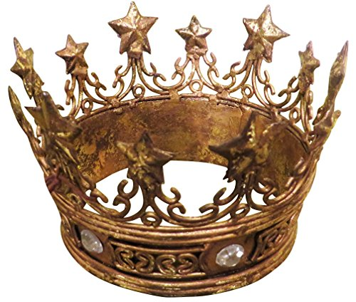 Star Crown Table Top Decor Pair Antiqued Gold | Ornate Jeweled Queen Princess Metal