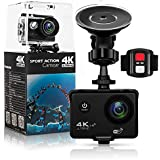 Action Camera,Dash Cam SJAKCAM 4K 16MP Wifi Action Camera Sony Sensor Ultra HD with EIS 30m Underwater Waterproof Camera Remote Sports Camcorder with 2 Batteries/for Cycling Car With 20 Accessories