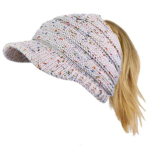 Cap Newsboy Skull Beanie Hat - Loritta Womens Winter Warm Knitted Hats Slouchy Wool Beanie Hat Cap with Visor (Confetti-White)