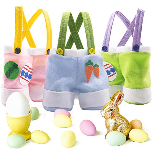 Easter Gift Candy Bags, 3 Pack Easter Egg Bags Pants Style Lovely Bunny Treat Bags
