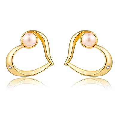 470c85b00 Karseer Simple Golden Heart Stainless Steel Stud Earrings with Cubic  Zirconia Crystal and Faux Pink Pearl