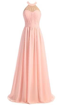 EverLove Bridesmaid Dresses Halter Floor Length Chiffon Backless Prom Dress Pink US2