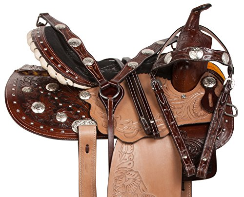 "14"" 15"" 16"" BROWN TAN LEATHER CRYSTAL WESTERN PLEASURE TRAIL BARREL RACER SHOW RODEO HORSE SADDLE TACK BRIDLE REINS BREAST COLLAR ARABIAN BARS (Arabian Show Saddles)"