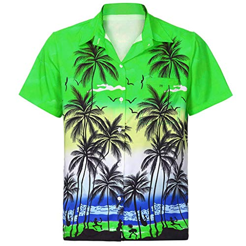 (Men's Tops Classic Casual Hawaiian Shirt Short Sleeve Front-Pocket Beach Floral Printed Blouse Top Tee Green)