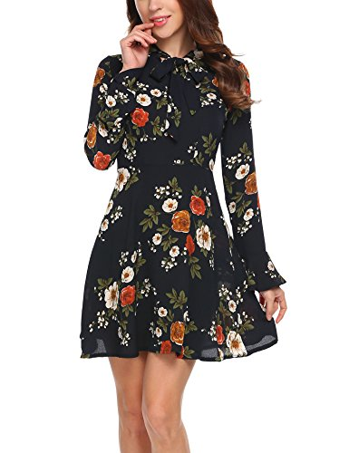 ACEVOG Womens Casual Floral Print Bell Sleeve Fit and Flare Dress