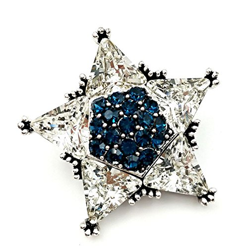 DREAMLANDSALES Gorgeous Vinrtage Clear and Blue Crystal Five Point Star Brooch Pins Silver Tone