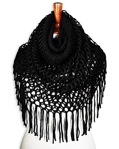 Basico Women Winter Warm Knit Infinity Scarf Soft Shawl Various Colors (Type A - Black)