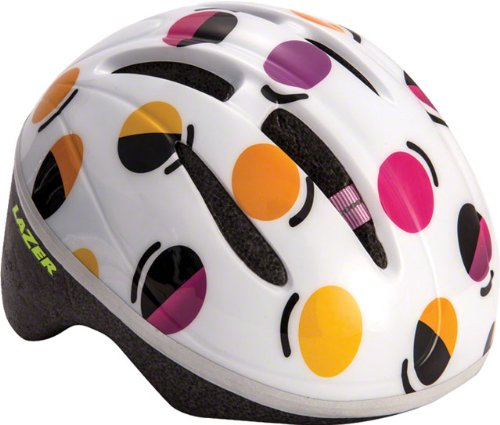 Lazer BOB Infant Helmet: White with Multi-Color Dots, One Size