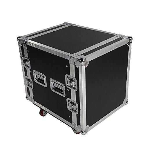 "Festnight 19"" DJ Mixer Case 12U Rack Space DJ Equipment Cabinet Portable 19"" Double Door DJ Equipment Cabinet Heavy Duty Portable DJ Stand with Wheels Black 27.5"" x 21.2"" x 27.17"" (L x W x H) -  EFA1978341525334UC"
