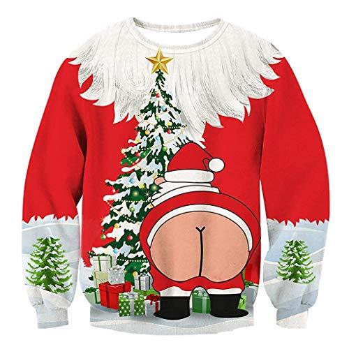 Autunno Felpe Di Buon Pullover Invernale Zolimx Con Camicette Lunghe 3d Natale Stampato Cappuccio Natale Felpa Maniche Rosso In Casual Uomo red Hoodies dz7xAYw7