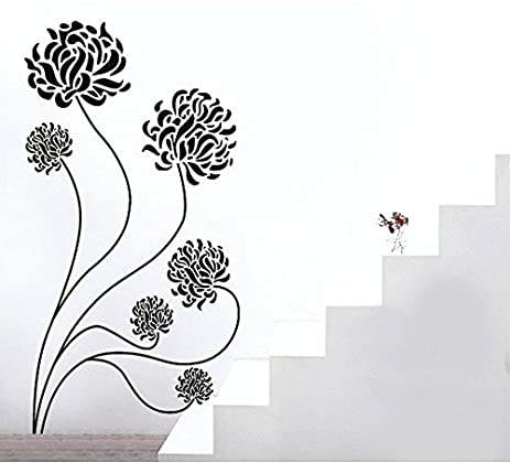 Flower wall stickers cute black wall sticker removable home decor wall decorative decal chrysanthemum