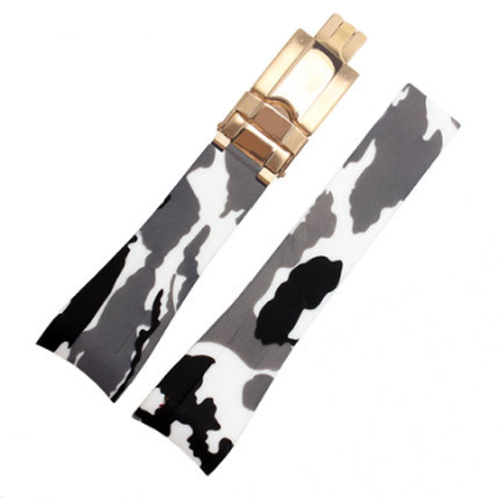 [Richie Strap] 20mm Camouflage Rubber Watch Strap Band Deployment Buckle Replacement fits Rolex Yacht Master Oysterflex Submariner GMT Daytona (White(Golden Buckle))