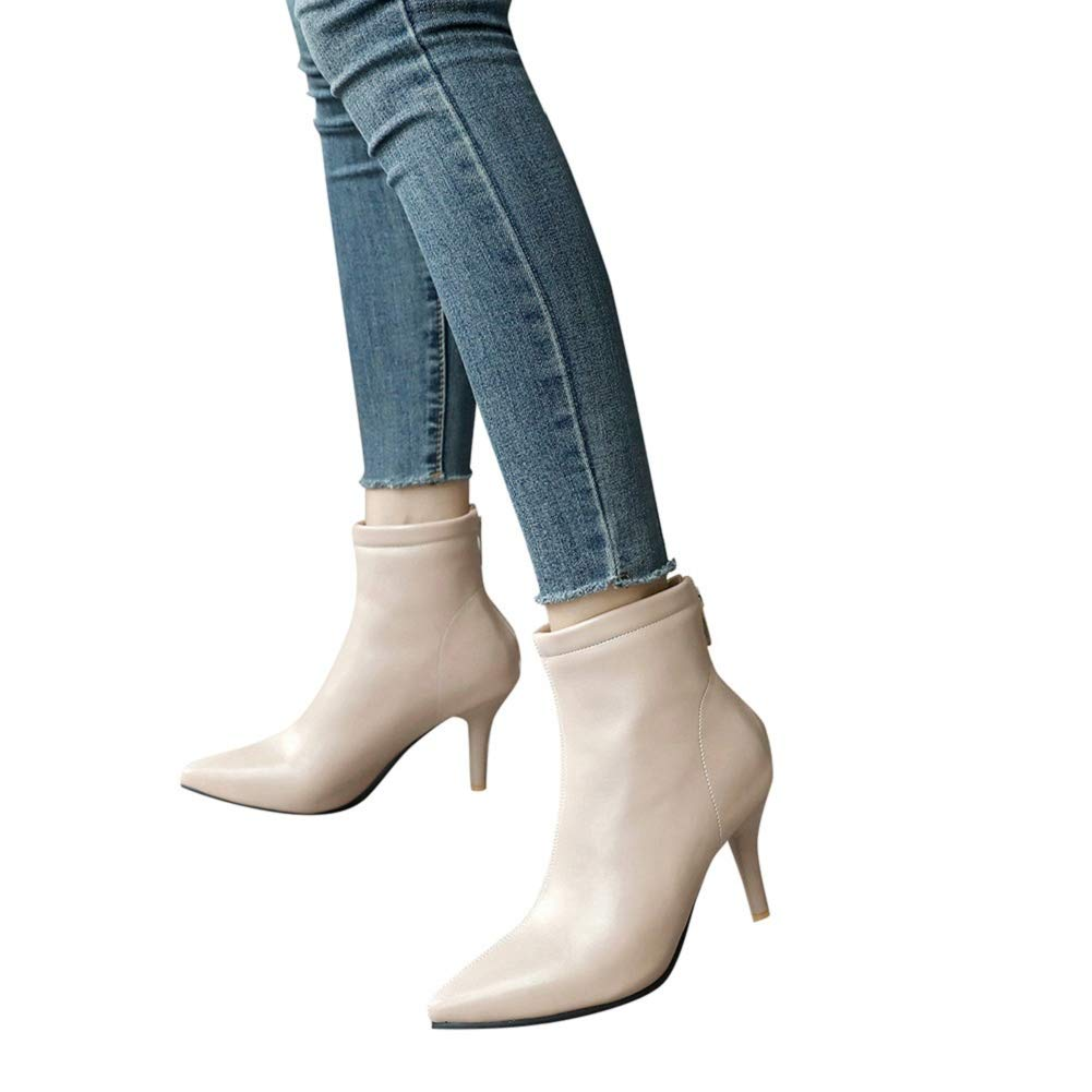 Women's Closed Pointed Toe Low Kitten Heel Ankle Bootie Prom Party Dress Bootie Beige by Lowprofile by Lowprofile Boots (Image #1)