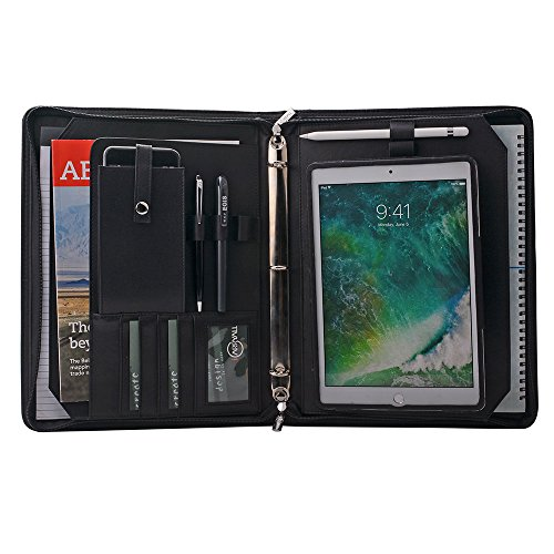 Custom Personalize Padfolio, Organizer Portfolio Case with Removable Tablet Holder for 9.7 inch iPad Pro,Black by iCarryAlls