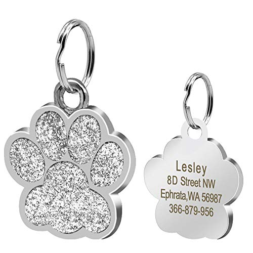 (Didog Large Glitter Paw Print Custom Pet ID Tags for Medium Large Dogs and Cats,Personalized Engraving,Silver)