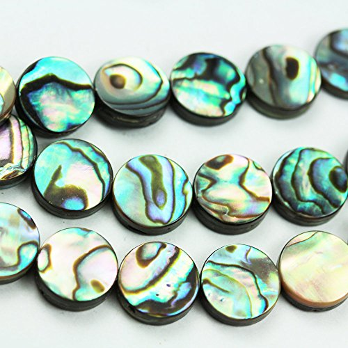 8mm One full strand Button Abalone Shell Beads, Peacock Shell color, 40 beads, 16