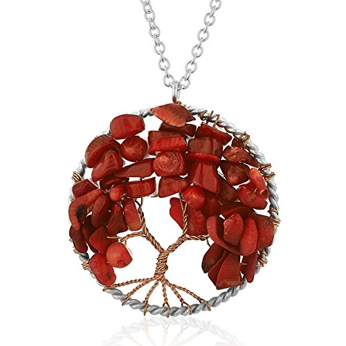 Chuvora Silver-Plated Brass Tree of Life Red Coral Pendant Necklace, 17-19 inches