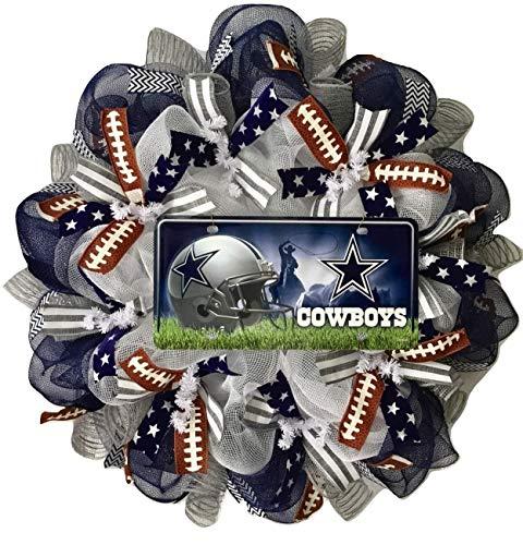 Dallas Cowboys Football Sports Wreath Handmade Deco Mesh (Dallas Cowboy Wreath)