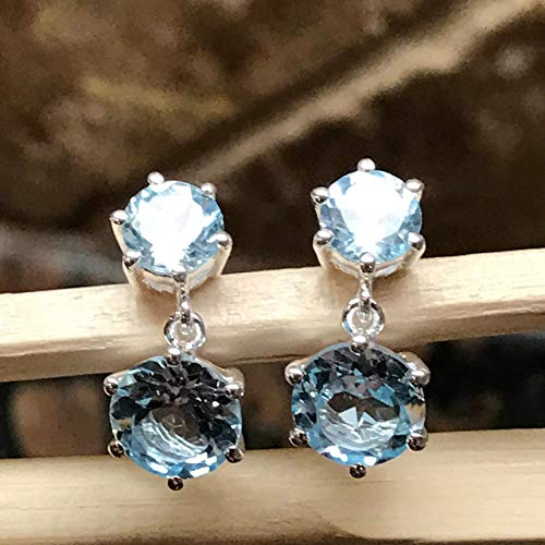 Natural 3.5ct Sky Blue Topaz 925 Solid Sterling Silver Dangle Earrings 18mm ()