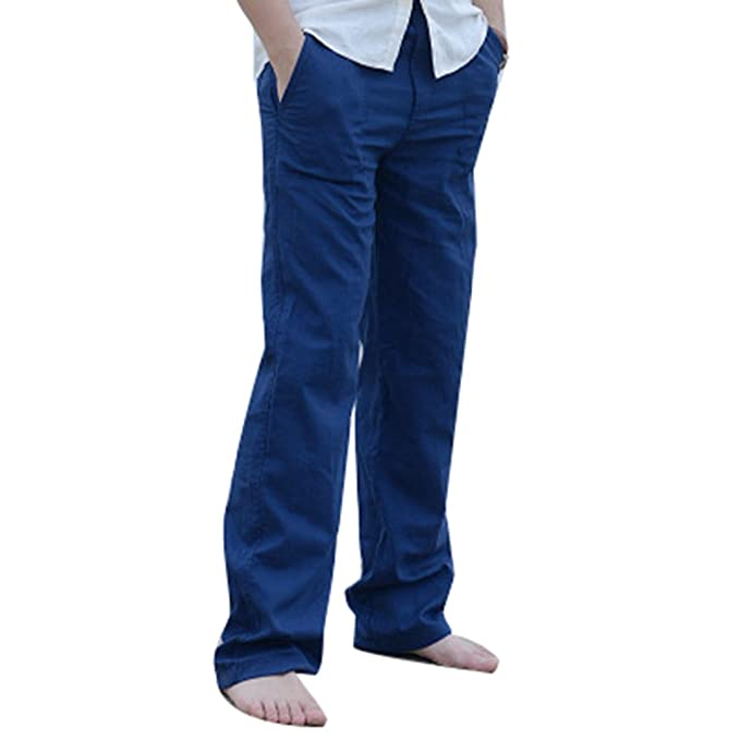 Fangcheng Hombre Lino Pantalones Elástico Cintura Suelto Pantalones Largos de Pierna Recta con Bolsillos Ligero Sólido