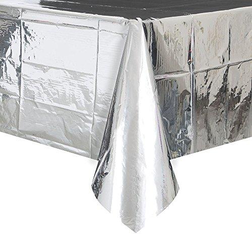 "Foil Silver Plastic Tablecloth, 108 x 54"""