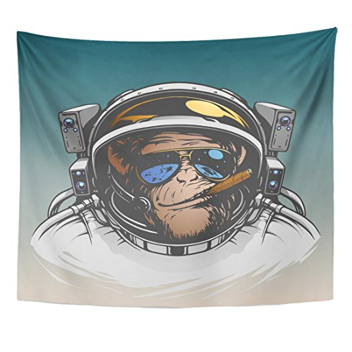 (Emvency Tapestry Space Monkey Astronaut Cool Gorilla Spaceman Chimpanzee Home Decor Wall Hanging for Living Room Bedroom Dorm 50x60 inches)