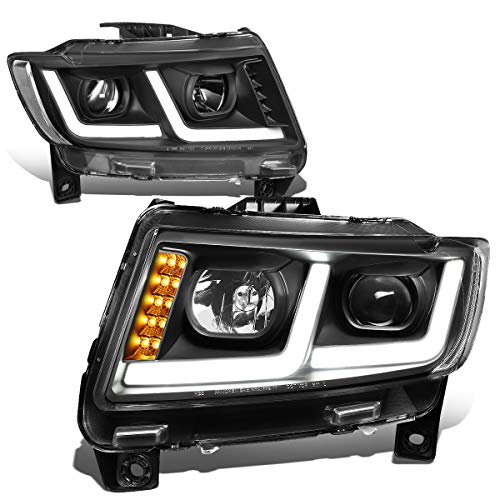 For 11-13 Jeep Grand Cherokee Black Housing Clear Corner LED DRL Projector Headlight/Lamps