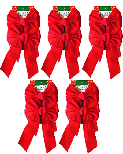 Red Velvet Christmas Bow 9-inch X 16-inch 4 Pack of Holiday