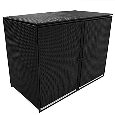 "Black Garden Double Unit Wheelie Bin Shed Storage Poly Rattan Garbage Enclosure With 2 Large Doors,Locking System58.2""x31.5""x43.7"",Size:58.2"" x 31.5"" x 43.7"""