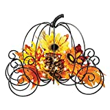 Collections Etc Fall Lighted Metal Pumpkin Carriage Sculpture with Floral Accents Indoor Tabletop Décor