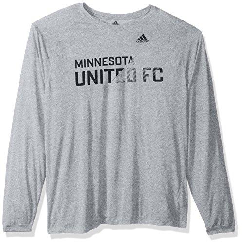 adidas MLS Minnesota United Adult Men Sweeper Climalite L/S Tee, Large, Gray