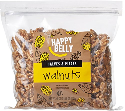 Amazon Brand - Happy Belly California Walnuts, Halves and Pieces, 40 Ounce by Happy Belly