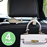 Toplus 4 PACK Car Headrest Hooks - Vehicle Universal Car Organizer Car Back Seat Headrest Hanger Holder Hook for Bag Purse Cloth Grocery, Cream - Coloured