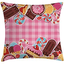 Ice Cream Throw Pillow Cushion Cover by Ambesonne, Candy Cookie Sugar Lollipop Cake Ice Cream Girls Design, Decorative Square Accent Pillow Case, 28 X 28 Inches, Baby Pink Chestnut Brown Caramel