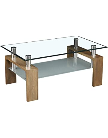 b30f3e0ea TUKAILAI Rectangle Clear Glass Coffee Table Modern Side Table with Lower  Shelf Chrome and MDF Support