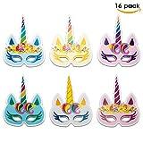Toys : Unicorn Masks 16 PCS for Birthday Party | HOT Rainbow Unicorn Party Supplies